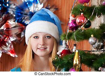 Teen girl in christmas