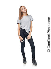 Teen girl in full length standing posing, isolated on white...