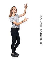 Teen girl in full length standing