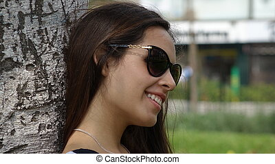 Teen Girl In Park