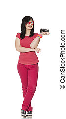 Teen girl in red with camera at white background.