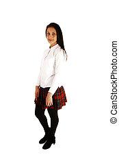 Teen girl in school uniform.