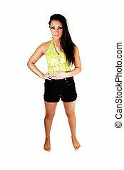 Teen girl in shorts.