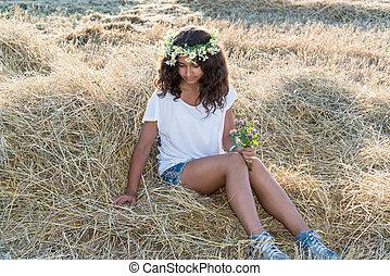 Teen girl in the field