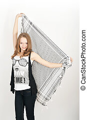 Teen girl in the photo on a white background