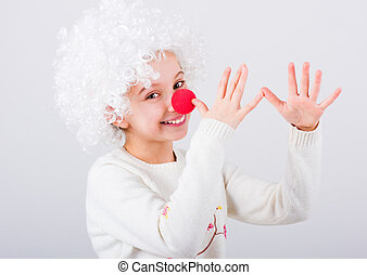 Teen girl in white clown wig gesturing with hands