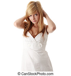 Teen girl in white dress