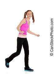 Teen girl laughing doing zumba