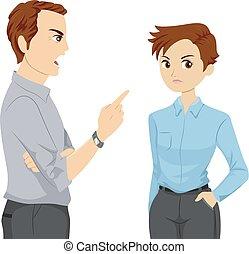 Teen Girl Lesbian Dad Scold Illustration