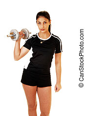 Teen girl lifting weight.