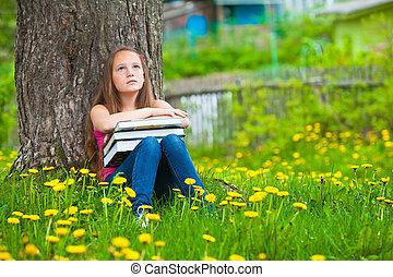 teen-girl, livres, parc, fatigué