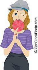 Teen Girl Lollipop Bite