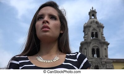 Teen Girl Looking Up To God At Church