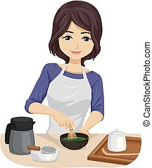 Teen Girl Make Matcha Tea Illustration
