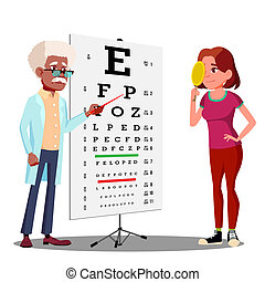 Teen Girl Making Test Chart In Ophthalmologist s Cabinet Vector. Isolated Illustration
