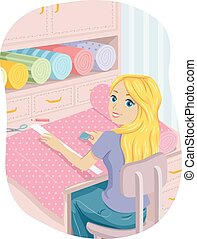 Teen Girl Marking Fabric Sewing