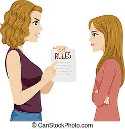 Teen Girl Mom Rules Illustration