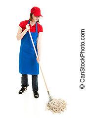 Teen Girl Mopping - Full Body - Teenage girl in service...
