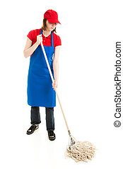 Teen Girl Mopping - Full Body - Teenage girl in service...