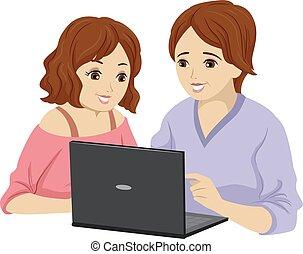Teen Girl Mother Learn Laptop Illustration