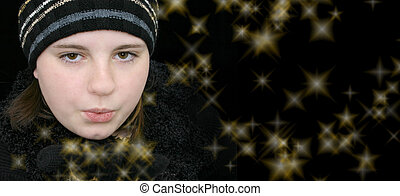 Teen Girl on Black