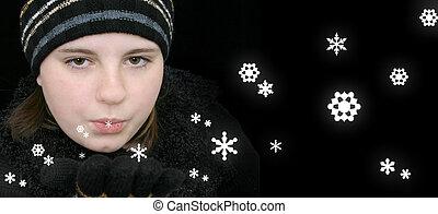 Teen Girl on Black