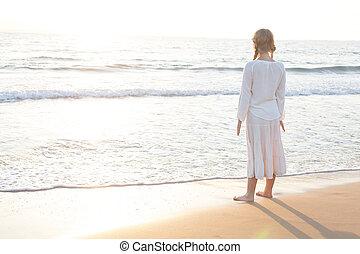 Teen Girl on Morning Beach. Mediterranean Sea, Dreams and Travel