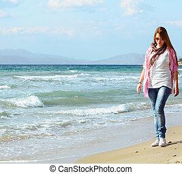 teen girl on the beach