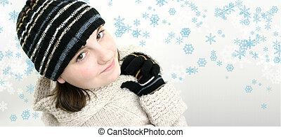 Teen Girl on White