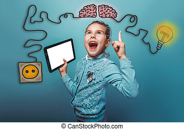 teen girl opened her mouth shouting holding a tablet joy of discovery