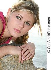 Teen Girl Outside - Beautiful teen girl outside by the lake ...