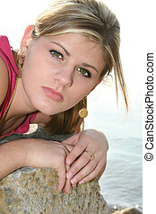 Teen Girl Outside - Beautiful teen girl outside by the lake...