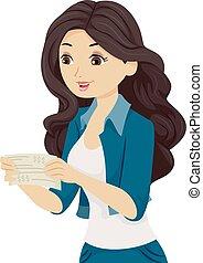 Teen Girl Paycheck Happy Illustration