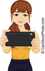 Teen Girl Phone Photography Illustration