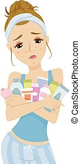 Teen Girl Pimple Breakout Beauty Products - Illustration of ...
