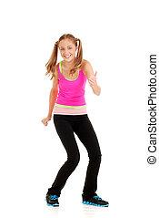 teen girl pink top workout zumba