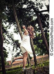 teen girl play in park