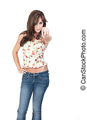 Teen girl pointing at the camera