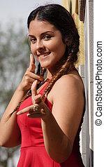 Teen Girl Pointing