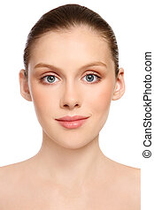 Portrait of beautiful healthy teen girl with clear skin on white background