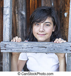 Teen girl portrait on the farm.