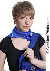 Teen girl portrait, over white background
