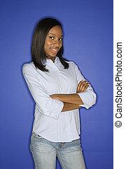 Teen girl portrait. - Portrait of smiling African-American...
