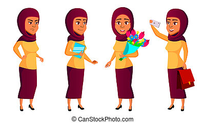 Teen Girl Poses Set Vector. Arab, Muslim. Leisure, Smile. For Web, Brochure, Poster Design. Isolated Cartoon Illustration