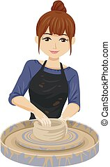 Teen Girl Pottery Making Illustration - Illustration of a...