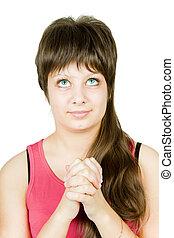 Teen girl prays