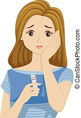 Teen Girl Pregnant - Illustration of a Teenage Girl Worried...