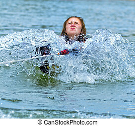 Teen Girl Pulling Up on  a Waterski