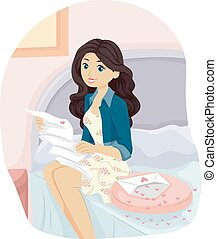 Teen Girl Read Love Letter Bed