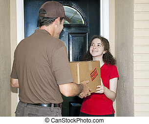 Teen Girl Receives Delivery